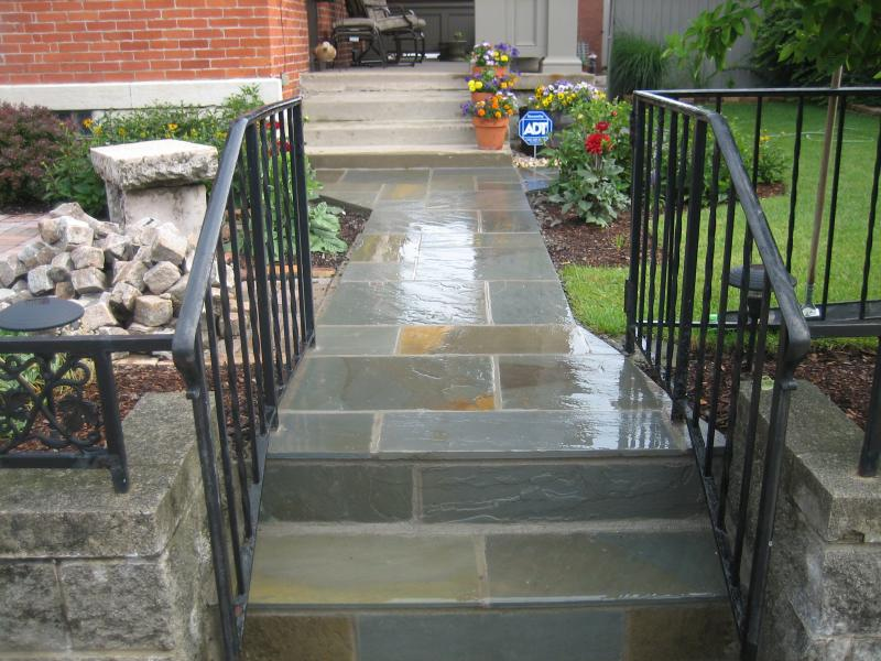 Concrete Steps and Walkway Refinsihed with Blue Stone