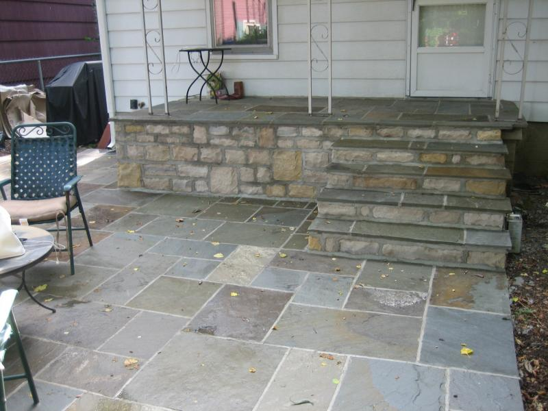 Concrete Porch and Patio Refinished with Blue Stone